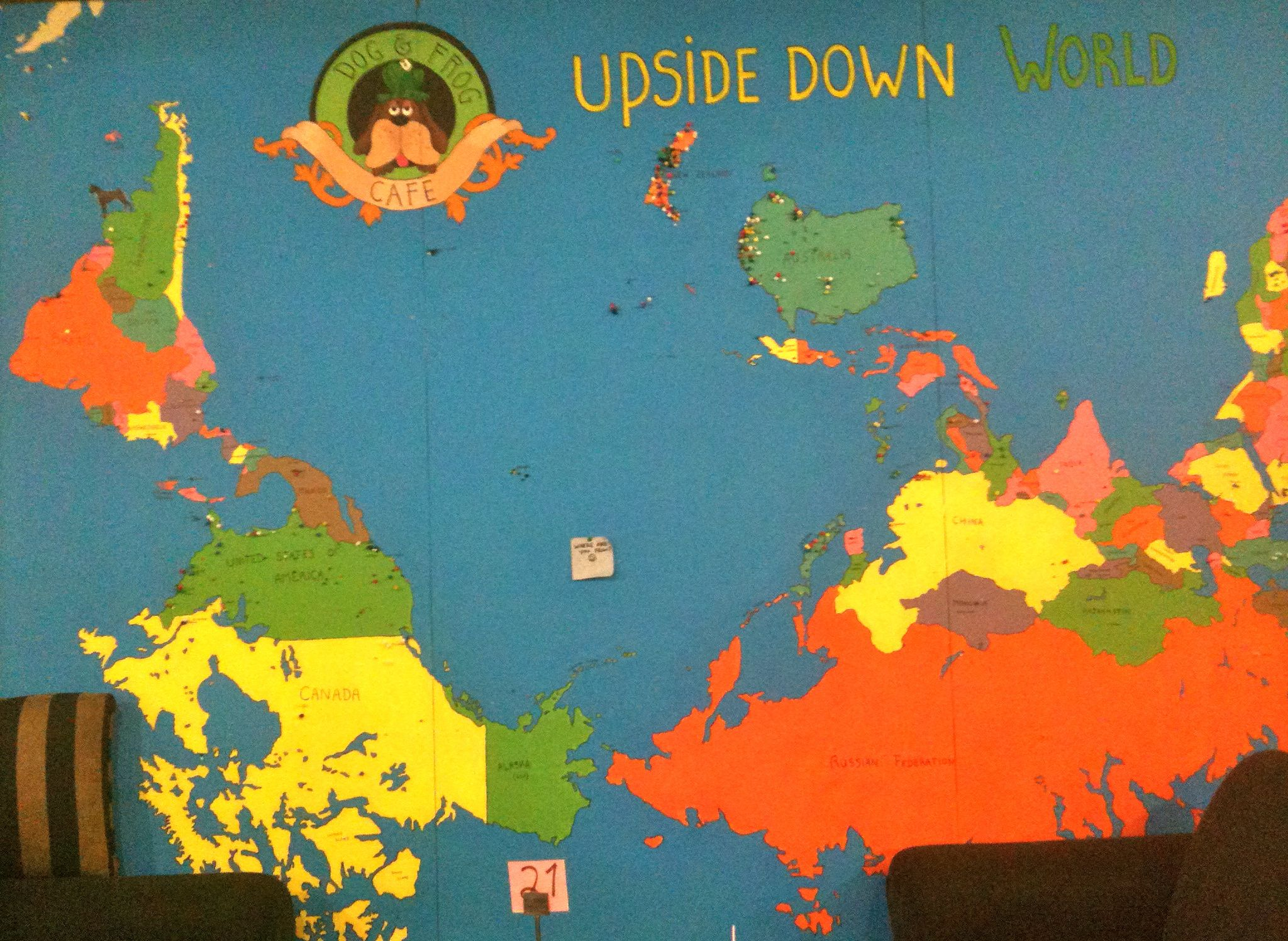 upside down world map Up North