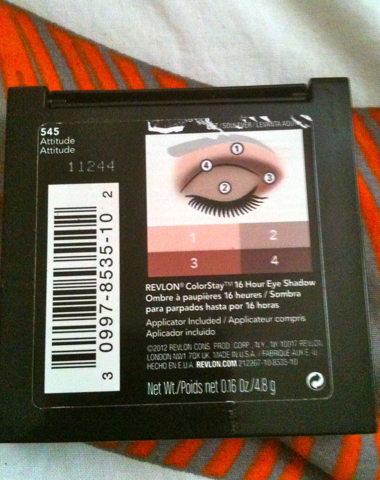 Revlon colorstay 16 hour eye shadow quad 545 attitude up north idiot proof instructions on the back of the quad ccuart Images
